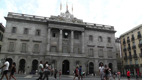 Barcelona City Hall Stock Video Footage