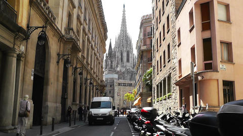 Barcelona Downtown Cathedral Stock Video Footage