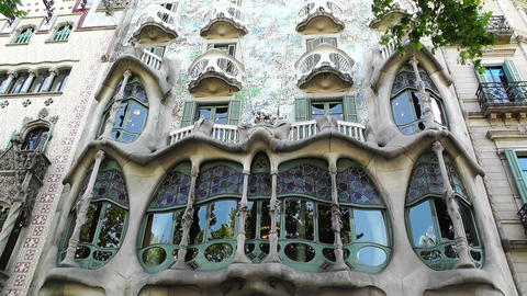 Barcelona Gaudi House 02 Stock Video Footage