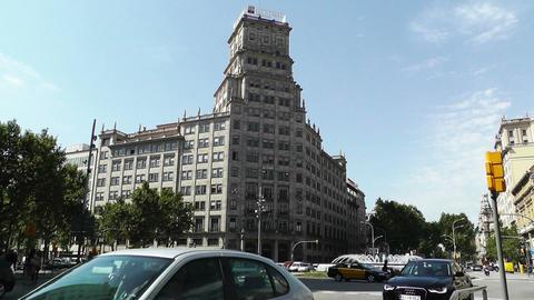 Barcelona Gran Via and Passeig De Gracia crossing 02 Stock Video Footage