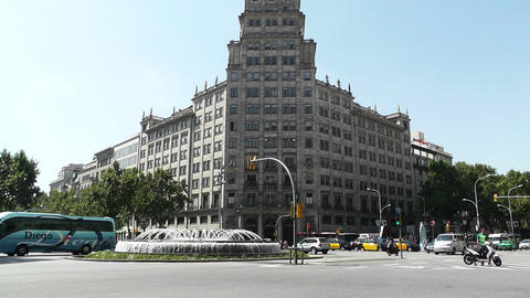 Barcelona Gran Via and Passeig De Gracia crossing 04 Stock Video Footage