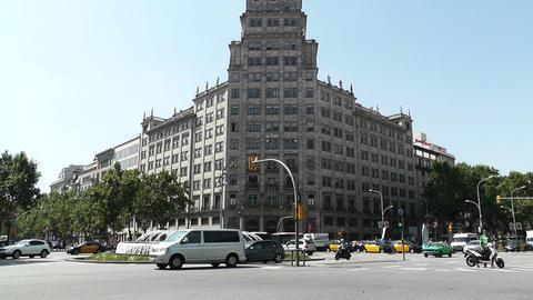 Barcelona Gran Via and Passeig De Gracia crossing 04 Stock Video Footage