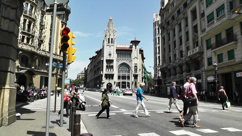 Barcelona Via Layetana 04 Stock Video Footage