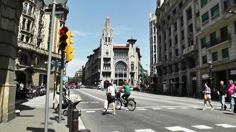 Barcelona Via Layetana 04 Stock Video Footage