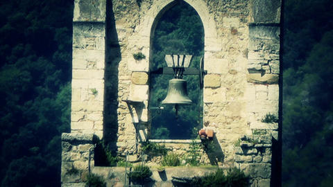 Bell Tower of an Ancient Christian Church stylized Stock Video Footage