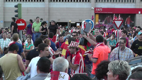 Estadio Vicente Calderon before match Copa Del Rey Final 2012 13 Barca Fans handh Footage