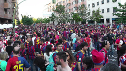 Estadio Vicente Calderon before match Copa Del Rey Final 2012 15 Barca Fans handh Footage