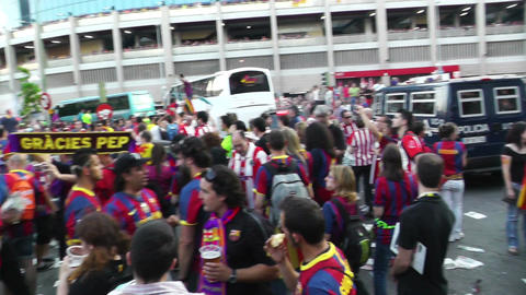 Estadio Vicente Calderon before match Copa Del Rey Final 2012 17 Barca Fans handh Footage