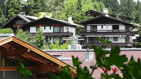 European Alps Austria 26 houses Stock Video Footage