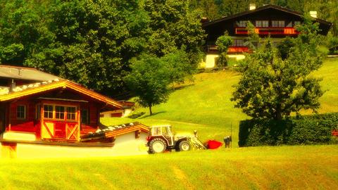 European Alps Austria 28 tractor stylized Stock Video Footage