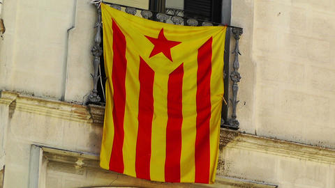 Facade in Catalonia with Catalan Flag in Spain 02 Stock Video Footage