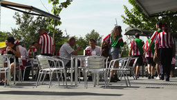 Madrid Cafe before Copa del Rey Final 2012 Athletic... Stock Video Footage