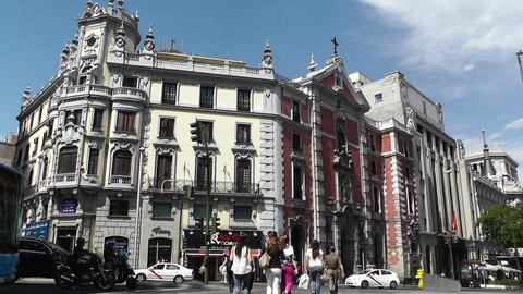 Madrid Calle De Alcala and Gran Via crossing 02 Stock Video Footage