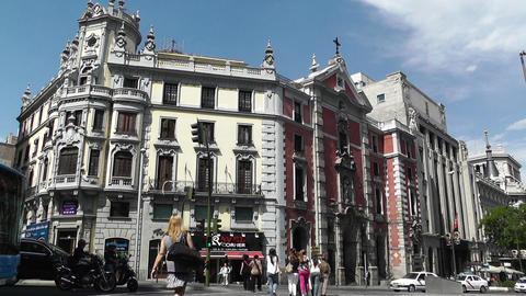 Madrid Calle De Alcala and Gran Via crossing 02 Stock Video Footage