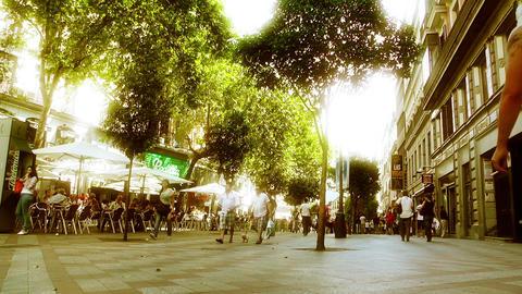 Madrid Calle De La Montera 02 stylized Stock Video Footage