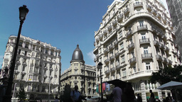 Madrid Calle De La Montera and Gran Via crossing 02 Stock Video Footage