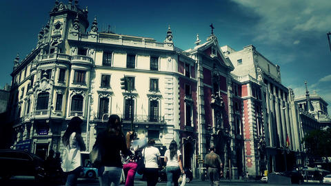 Madrid Calle De Alcala and Gran Via crossing 04 stylized Stock Video Footage
