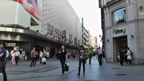 Madrid Spain Calle De Preciados 01 Stock Video Footage