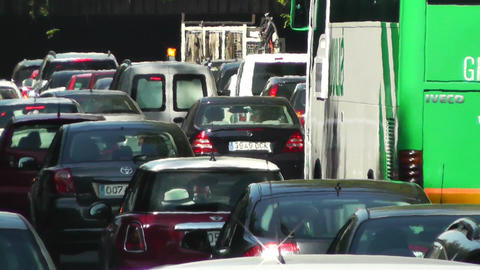 Madrid Cuesta De San Vicente 03 traffic Stock Video Footage