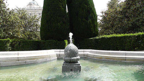 Madrid Jardines De Sabatini 04 fountain Stock Video Footage