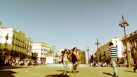 Madrid Plaza De La Puerta Del Sol 05 stylized Stock Video Footage