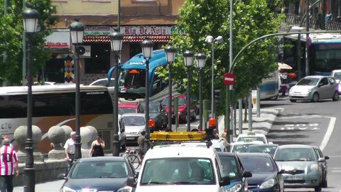 Madrid Puente De Segovia 04 heat mirage Stock Video Footage