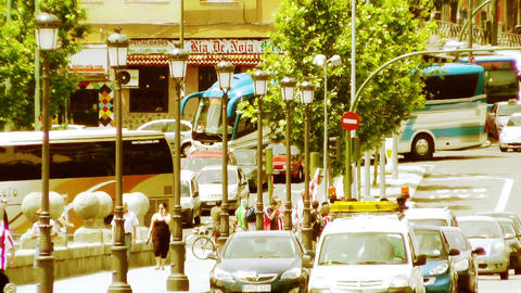 Madrid Puente De Segovia 06 stylized Stock Video Footage