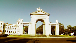 Madrid Puerta De San Vicente 05 stylized Stock Video Footage