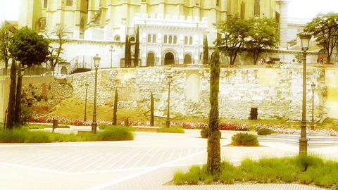 Madrid Santa Maria Almudena 06 stylized Stock Video Footage