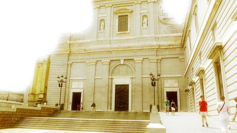 Madrid Santa Maria Almudena 08 stylized Stock Video Footage