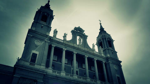 Madrid Santa Maria Almudena 09 lowangle stylized Stock Video Footage