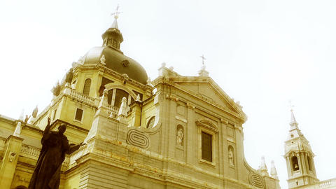 Madrid Santa Maria Almudena and Statue of Pope John Paul... Stock Video Footage