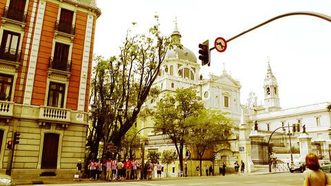 Madrid Santa Maria Almudena Calle De Bailen and Calle... Stock Video Footage