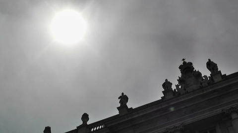 Medieval Building under Sun lowangle Stock Video Footage