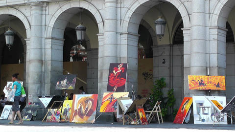 Plaza Mayor De Madrid 04 artist painter Stock Video Footage