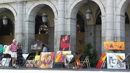 Plaza Mayor De Madrid 04 artist painter Stock Video Footage