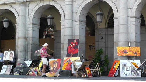 Plaza Mayor De Madrid 04 artist painter Footage