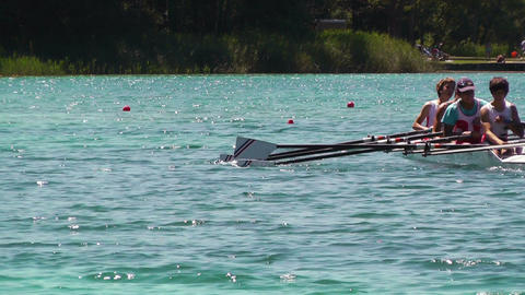 Rowing on Lake 02 Stock Video Footage