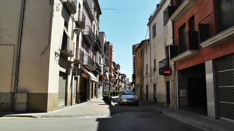 Small Town Street in Spain 01 Catalonia Stock Video Footage