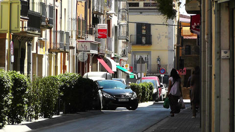 Small Town Street in Spain 03 Catalonia Stock Video Footage