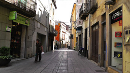 Small Town Street in Spain 05 Catalonia Footage