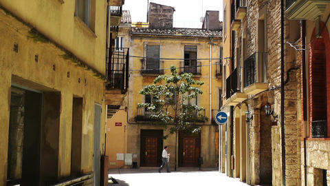 Small Town Street in Spain 09 Catalonia Stock Video Footage
