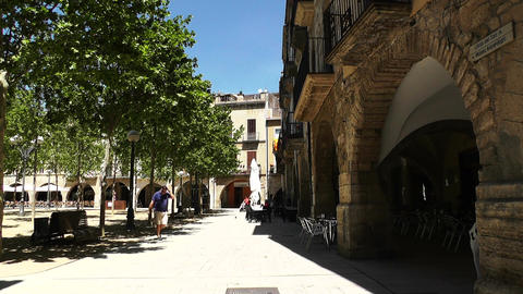 Square in Small Town in Spain 01 Catalonia Stock Video Footage
