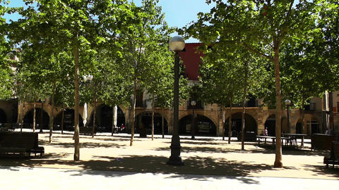 Square in Small Town in Spain 04 Catalonia Stock Video Footage