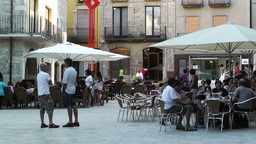 Square in Small Town in Spain 07 Catalonia Stock Video Footage