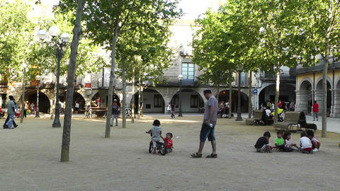 Square in Small Town in Spain 12 Catalonia Stock Video Footage