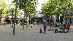 Square in Small Town in Spain 12 Catalonia Footage