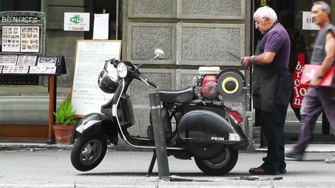 Street Knife Shrapener in Barcelona Stock Video Footage