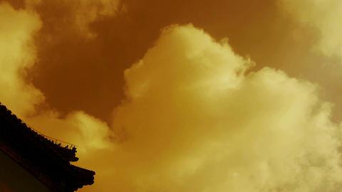 High clouds and temple roof,sunny Stock Video Footage