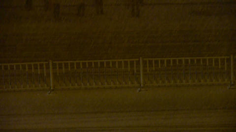 Vehicle car traveling on road in snow at night,traffic,Taxi Stock Video Footage